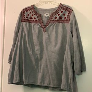 Old Navy grey embroidered tunic top